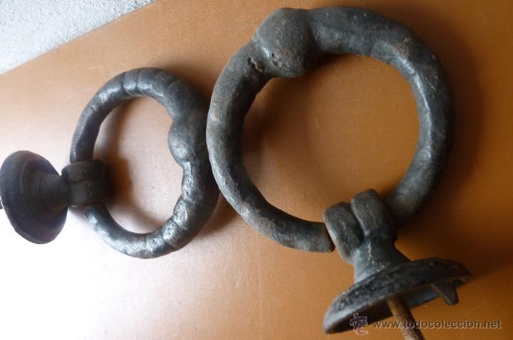 Antigüedades: LLAMADOR, MAGNÍFICA PAREJA DE ALDABAS O LLAMADORES EN FORJA, MUY ANTIGUOS - Foto 2 - 40791313