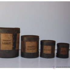 Antigüedades: MEDIDAS DE ARIDOS ESPAÑOLAS CON SELLOS Y FABRICANTE 1874. Lote 40836544