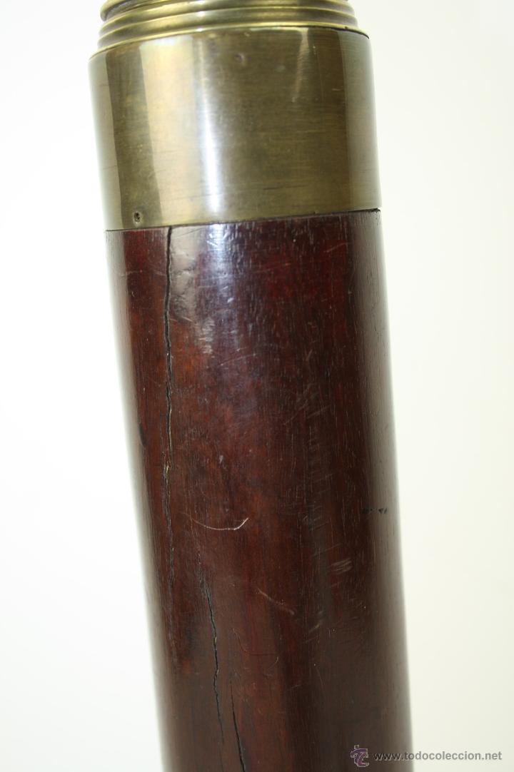 Antigüedades: ESPLÉNDIDO CATALEJO DE FINALES S. XIX EN BRONCE Y MADERA TROPICAL, 70 CM LONG. MÁXIMA - Foto 6 - 40874433