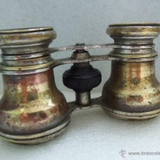 Antigüedades: MUY ANTIGUOS BINOCULARES- BRONCE Y CROMO -. Lote 40903492