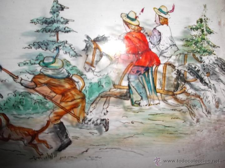 Antigüedades: LINTERNA MAGICA LOTE CRISTAL CON ESCENA DE CAZA, DOS CRISTALES 38 Y 32 CM SIGLO XIX- - Foto 9 - 40930131