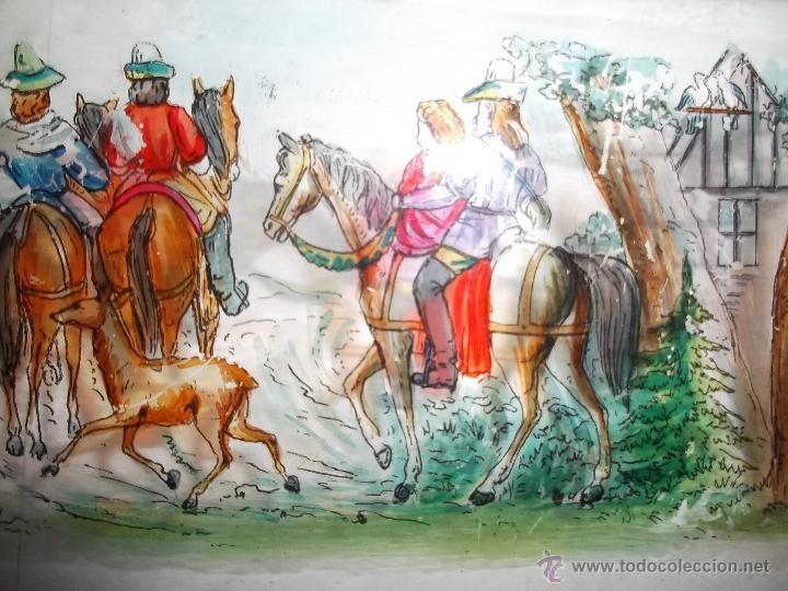 Antigüedades: LINTERNA MAGICA LOTE CRISTAL CON ESCENA DE CAZA, DOS CRISTALES 38 Y 32 CM SIGLO XIX- - Foto 10 - 40930131