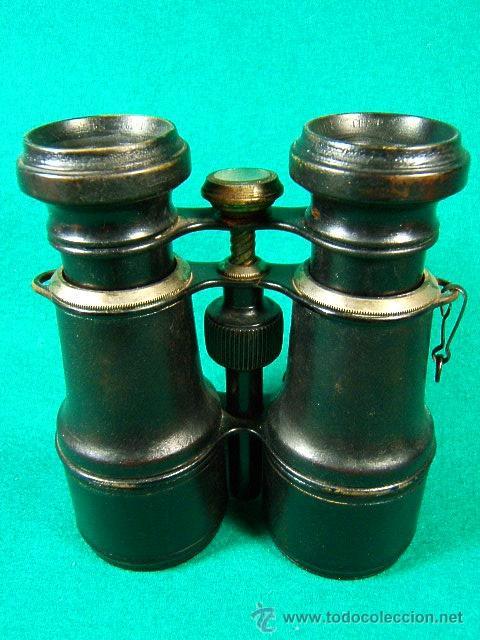 PRISMATICOS-BINOCULARES¿MILITATE?CON BRUJULA-CAMPAÑA MILITAR I GUERRA MUNDIAL-CUERO-METAL-10X11X5 CM (Antigüedades - Técnicas - Instrumentos Ópticos - Binoculares Antiguos)