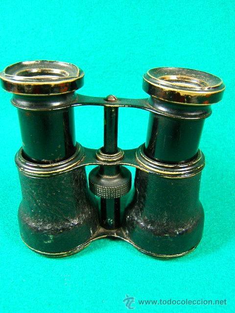 PRISMATICOS-BINOCULARES-6 Ó 8 AUMENTOS- PIEL NEGRA RUGOSA Y METAL NEGRO-11X8X5 CM-SIN MARCA-1920/25? (Antigüedades - Técnicas - Instrumentos Ópticos - Binoculares Antiguos)
