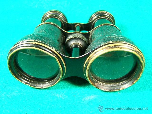 Antigüedades: PRISMATICOS-BINOCULARES-6 Ó 8 AUMENTOS- PIEL NEGRA RUGOSA Y METAL NEGRO-11X8X5 CM-SIN MARCA-1920/25? - Foto 3 - 40953627