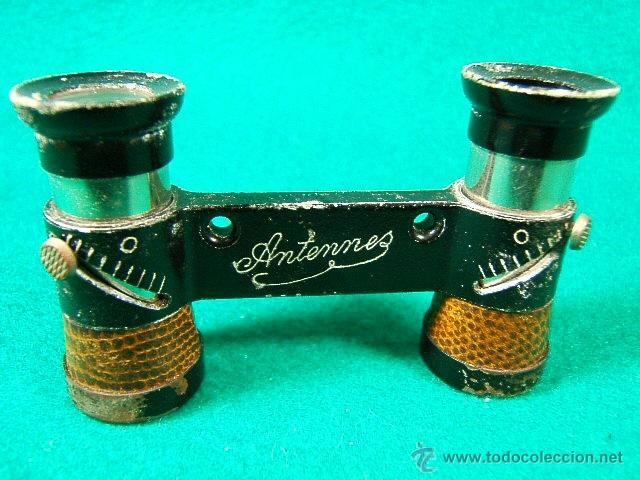 PRISMATICOS-BINOCULARES-MARCA ANTENNES-MINIATURA-8X4X2CM-FALTA 1 LENTE-ESTUCHE DE PIEL-1880/1900 ? (Antigüedades - Técnicas - Instrumentos Ópticos - Binoculares Antiguos)