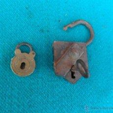 Antigüedades: 2 PEQUEÑOS CANDADOS. Lote 41068808