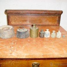 Antigüedades: LOTE DE ANTIGUAS PESAS. Lote 41357455