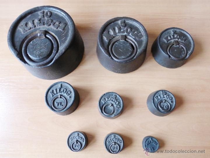 Antigüedades: BALANZA DE DOS 2 PLATOS DE 20 KILOS. JUEGO DE PESAS. 1905? - Foto 7 - 41361657