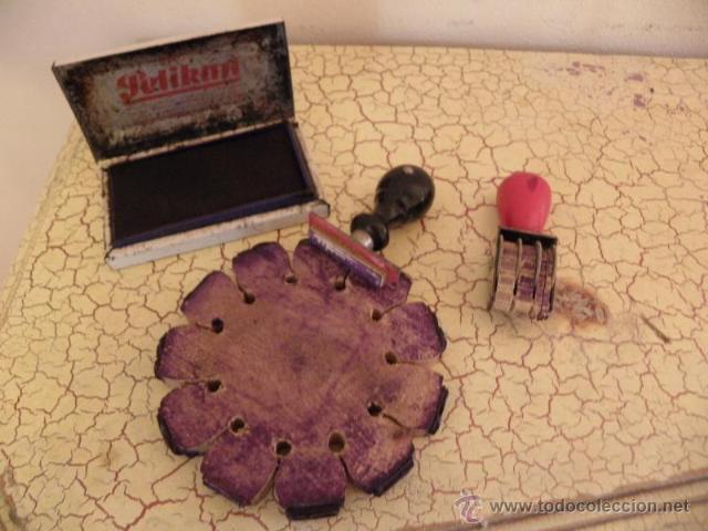 Antigüedades: Juego de escritorio - Tampon numerico Flex , tampon de fecha , tinta y tampon cumplimentado - Foto 2 - 41380208