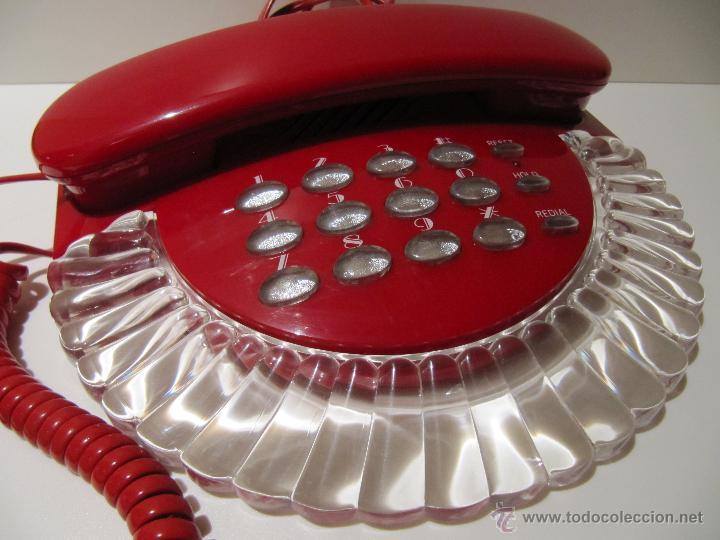 TELEFONO VINTAGE ROJO Y TRANSPARENTE ROMEO. AÑOS 80 (Antigüedades - Técnicas - Teléfonos Antiguos)