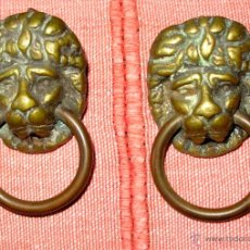 Antigüedades: PAREJA DE TIRADORES ANTIGUOS DE BRONCE.. Lote 41589224