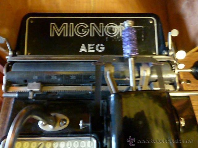 Antigüedades: ANTIGUA MAQUINA DE ESCRIBIR MIGNON Nº4 CON SU MALETA DE MADERA ORIGINAL Y FUNCIONANDO - Foto 3 - 41591647