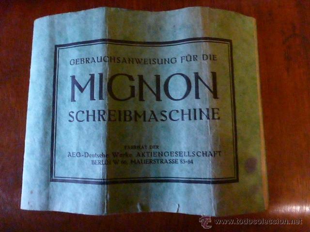 Antigüedades: ANTIGUA MAQUINA DE ESCRIBIR MIGNON Nº4 CON SU MALETA DE MADERA ORIGINAL Y FUNCIONANDO - Foto 8 - 41591647