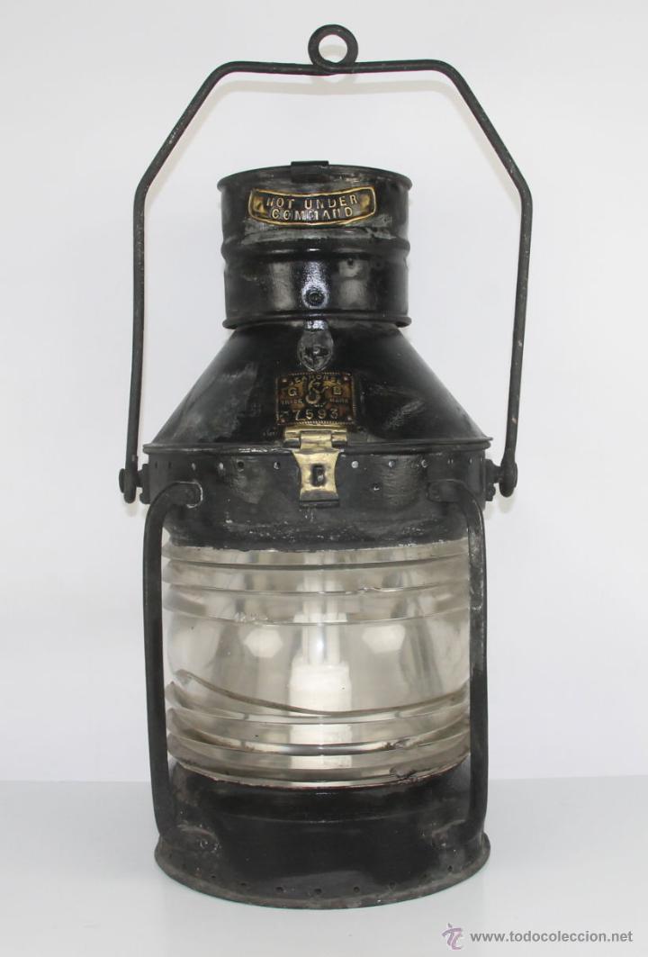 FAROL MARITIMO DE POSICION. RECONVERTIDO EN LAMPARA. SEAHORSE TRADE MARK. GB. 7593. S XIX- XX. (Antigüedades - Antigüedades Técnicas - Marinas y Navales)
