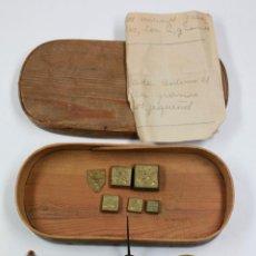 Antigüedades: BALANZAS DE PRECISIÓN Y PESAS ANTIGUAS EN ESTUCHE DE 16,7 CM DE LARGO.. Lote 42046647