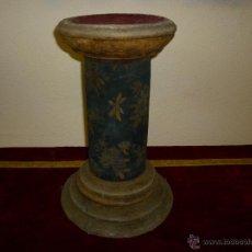 Antigüedades: PEDESTAL MADERA Y TELA SIGLO XVIII. Lote 42213598