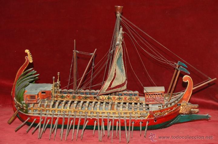 Antigua maqueta de barco a escala modelo trirre comprar - Antiguedades de barcos ...