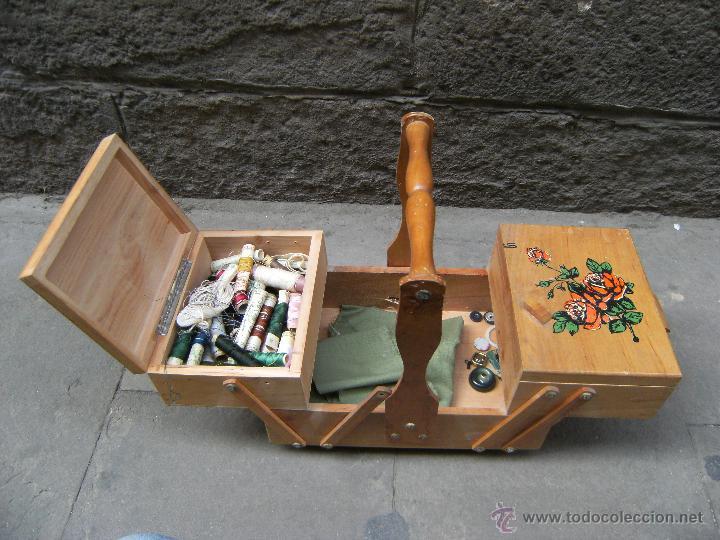 Antigüedades: Bonito costurero de madera con ilustraciones - Foto 2 - 42324702