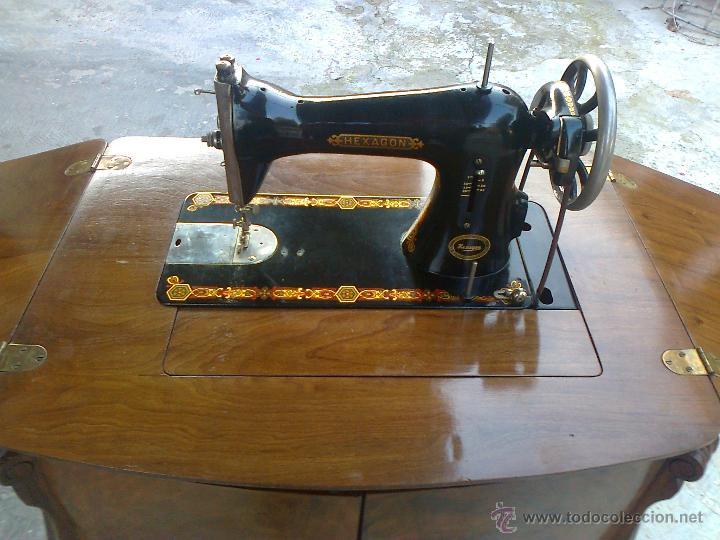 antigua maquina de coser singer hexagon con mue - Comprar