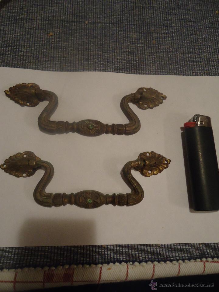2 TIRADORES EN BRONCE (Antigüedades - Técnicas - Cerrajería y Forja - Tiradores Antiguos)