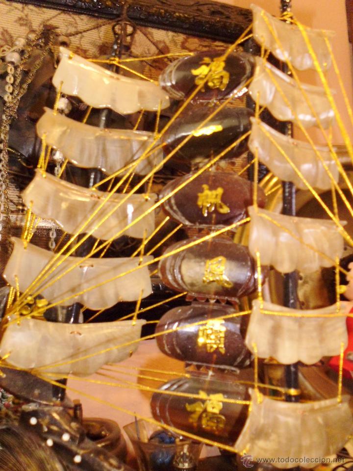 Antigüedades: ANTIGUO BARCO CHINO CON DRAGON EN CAREY O SIMILAR PIE EN MADERA - Foto 5 - 42549357