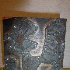 Antigüedades: ANTIGUA PLACA DE TÓRCULO PARA IMPRENTA CON GRABADO DE PINTURAS RUPESTRES EN CUEVAS VACHE Y FELICETA.. Lote 42581539