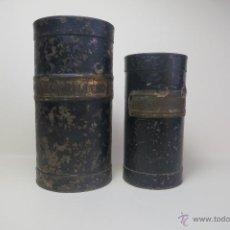 Antigüedades: DOS MEDIDAS DE HIERRO PARA ARIDOS CA 1890 DECILITRO Y DOBLE DECILITRO. Lote 42665116
