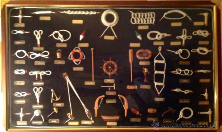 CUADRO NUDOS MARINEROS HECHO A MANO ARTESANAL 50 PIEZAS MEDIDAS 103 POR 63CM (Antigüedades - Antigüedades Técnicas - Marinas y Navales)