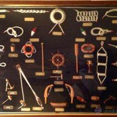 Antigüedades: CUADRO NUDOS MARINEROS HECHO A MANO ARTESANAL 50 PIEZAS MEDIDAS 103 POR 63CM. Lote 42716391