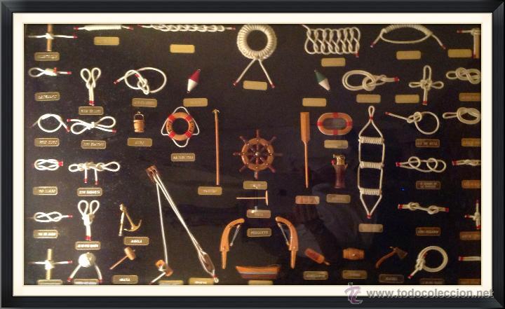 Antigüedades: Cuadro Nudos Marineros Hecho A Mano Artesanal 50 Piezas Medidas 103 por 63cm - Foto 2 - 42716391