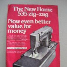 Antigüedades: HOJA PUBLICITARIA MAQUINA DE COSER NEW HOME ACCESORIO ZIG-ZAG 535, EN INGLES, AÑOS 60 . Lote 42729320