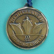 Antigüedades: ANTIGUA MEDALLA DE BRONCE DE BARCO / CRUCERO RHAPSODY MEDITERRANEAN SHIPPING CRUISES. Lote 42891842
