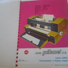 Antigüedades: ANTIGUO CATALOGO COMPUTADOR A FICHAS MAGNETICAS LITTON ABS AÑO 1972. Lote 42905134