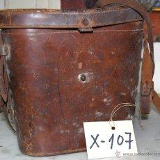 Antigüedades: FUNDA PRISMÁTICOS RÍGIDA EN CUERO - 107. Lote 43043329