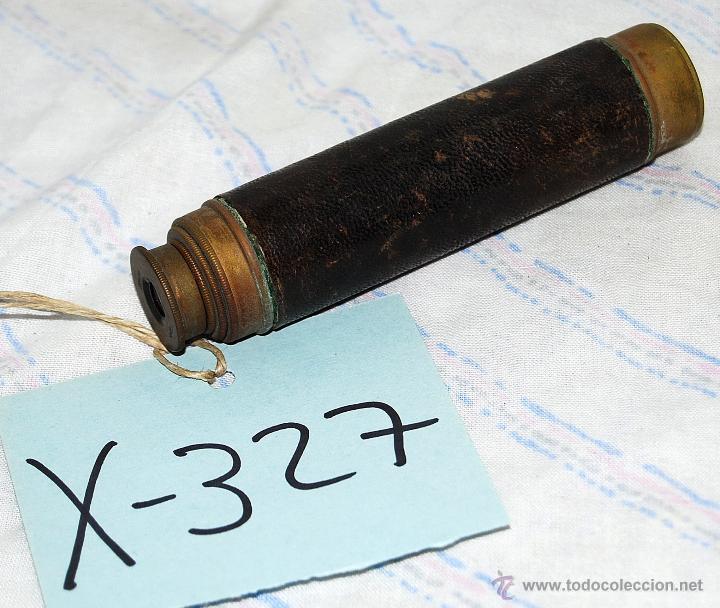 CATALEJO ANTIGUO DE BRONCE Y CUERO CUATRO CUERPOS - 327 (Antigüedades - Técnicas - Instrumentos Ópticos - Catalejos Antiguos)