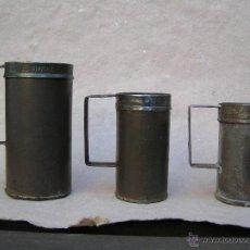 Antigüedades: DECILITRO ( 2 PIEZAS) Y DOBLE DECILITRO. 1890 . MARCADOS : BARCELONA. POU VILASAR.. Lote 43141985