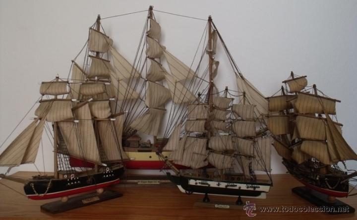 Lote 4 maquetas madera barcos antiguos lotazo comprar - Antiguedades de barcos ...