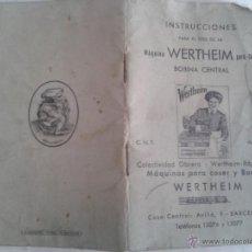 Antigüedades: INSTRUCCIONES MAQUINA DE COSER Y BORDAR WERTHEIM. Lote 43442205