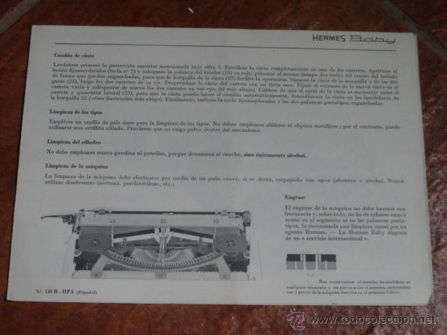 Antigüedades: FOLLETO PUBLICIDAD MAQUINA DE ESCRIBIR HERMES BABY - Foto 7 - 43551030