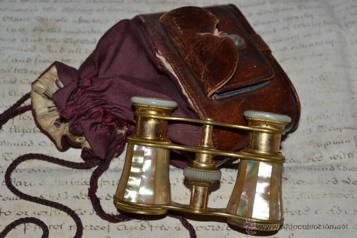 Antigüedades: MAGNIFICOS PRISMATICOS DE MADREPERLA,NACAR,CON CURIOSO ESTUCHE,S.XIX - Foto 2 - 43701038