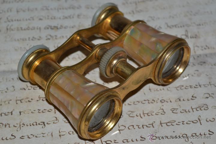 Antigüedades: MAGNIFICOS PRISMATICOS DE MADREPERLA,NACAR,CON CURIOSO ESTUCHE,S.XIX - Foto 4 - 43701038