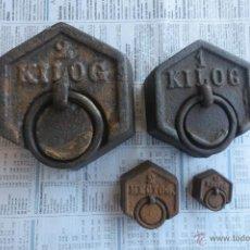 Antigüedades: PESAS EXAGONALES FRANCESAS DE 2 Y 1 KILO 2 HECTOG Y 1/2 HECTOG. Lote 43826711