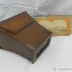 Antigüedades: VISOR ESTEREOSCÓPICO DE CAOBA. SIGLO XIX / XX. SE ACOMPAÑA CON 9 VISTAS. Lote 43844505
