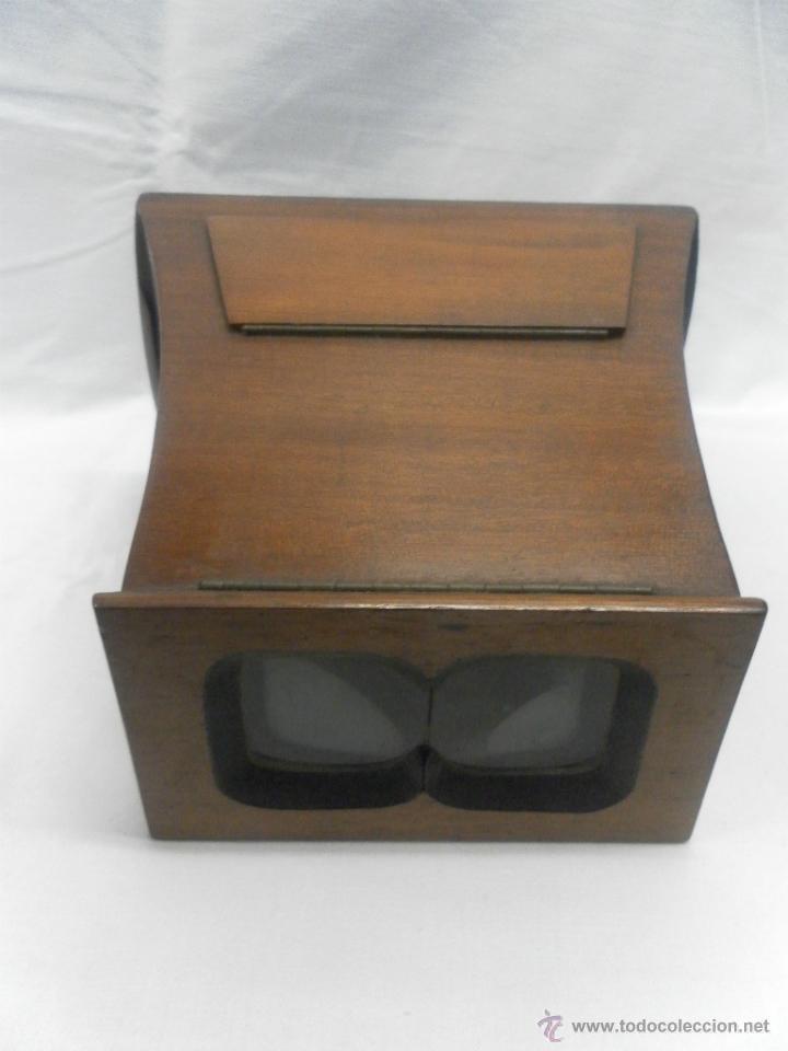 Antigüedades: Visor estereoscópico de caoba. Siglo XIX / XX. Se acompaña con 9 vistas - Foto 3 - 43844505