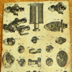 Antigüedades: TROQUEL MADERA CON PLANCHA PIEZAS MECÁNICA AÑOS 40-50. Lote 43864590