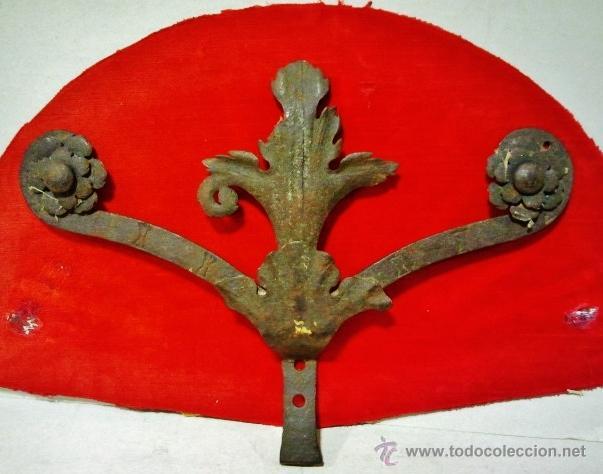 COPETE DE VERJA EN HIERRO FORJADO DEL S. XVII CON ADORNOS VEGETALES. (Antigüedades - Técnicas - Cerrajería y Forja - Forjas Antiguas)