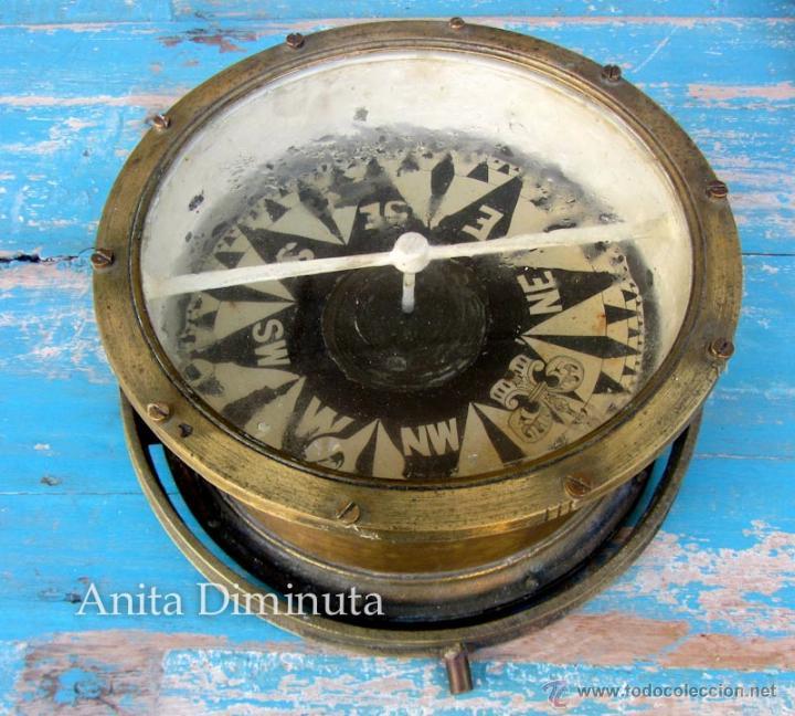 Antigüedades: MUY ANTIGUA GRAN BRUJULA DE BARCO - REALIZADA EN BRONCE - UNA BELLEZA - 100 % ORIGINAL - FLOR DE LIS - Foto 3 - 43925826