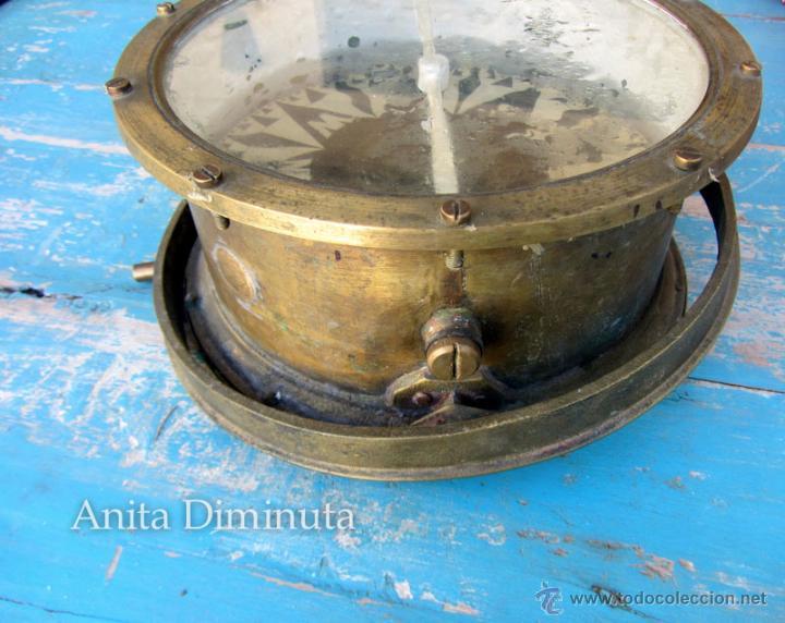 Antigüedades: MUY ANTIGUA GRAN BRUJULA DE BARCO - REALIZADA EN BRONCE - UNA BELLEZA - 100 % ORIGINAL - FLOR DE LIS - Foto 5 - 43925826