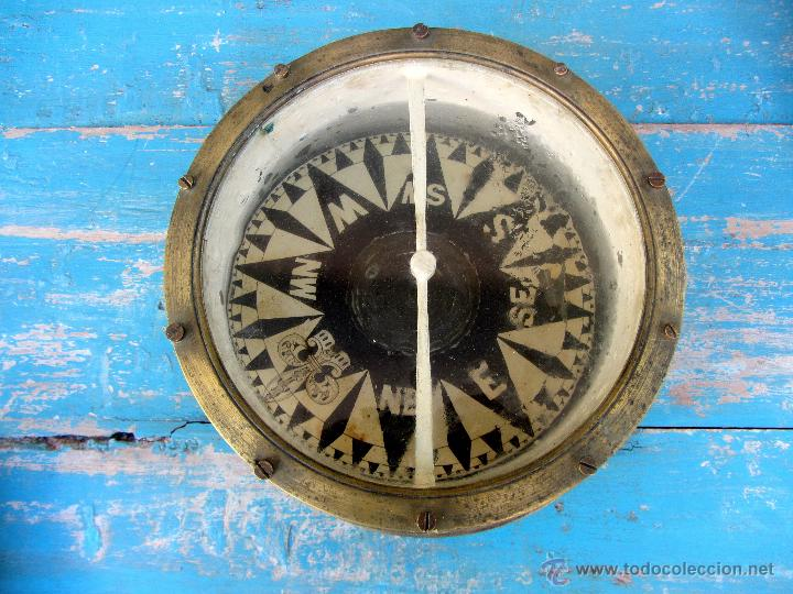 Antigüedades: MUY ANTIGUA GRAN BRUJULA DE BARCO - REALIZADA EN BRONCE - UNA BELLEZA - 100 % ORIGINAL - FLOR DE LIS - Foto 6 - 43925826